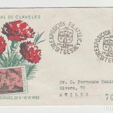 Sellos: LOTE V - POSTAL EXPOSICION DE CLAVELES SITGES BARCELONA MATASELLOS AVILES CERTIFICADO. Lote 190903796