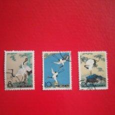 Sellos: GRULLAS, PINTURAS DE CHEN CHI FO YVERT 1398-1400 CHINA. Lote 262382130