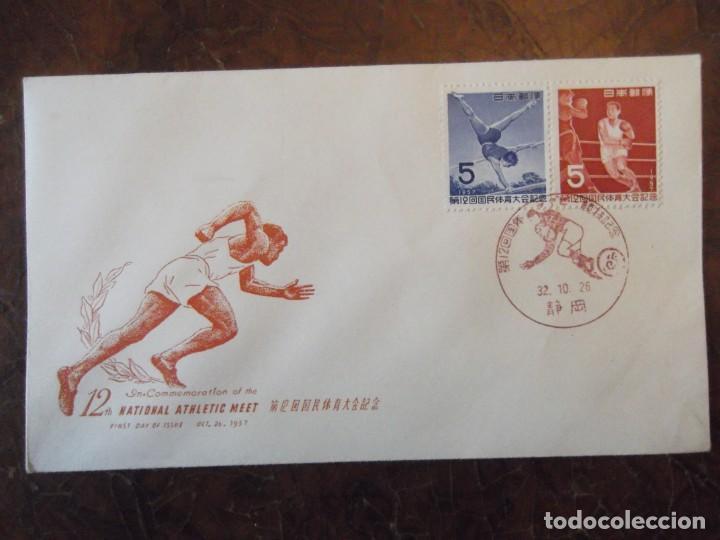 """SELLO DE CHINA 1957 EN SOBRE CONMEMORATIVO JUEGOS OLÍMPICOS """" FOOTBALL AMERICANO """" EN MATASELLOS (Sellos - Extranjero - Asia - China)"""