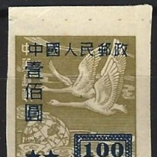 Timbres: CHINA DEL NOROESTE 1950 - SOBRECARGADO - CISNES SALVAJES, VERDE OLIVA - MNH SIN GOMA. Lote 268983479