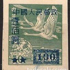 Timbres: CHINA DEL NOROESTE 1950 - SOBRECARGADO - CISNES SALVAJES, VERDE OSCURO - MNH SIN GOMA. Lote 268983794