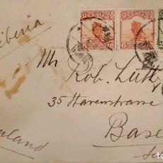 Sellos: O) 1913 CHINA, VIA SIBERIA, JUNK, LONDON PRINTING, C. LUTHY SHANGHAI, CIRCULADA A SUIZA, XF. Lote 288589538