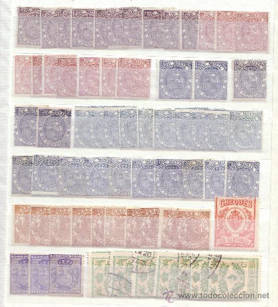 ESPAÑA. LOTE DE SELLOS FISCALES DEL SIGLO XIX (LA MAYORÍA). MAGNÍFICO. (Sellos - Colecciones y Lotes de Conjunto)