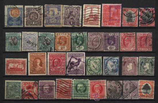34 SELLOS ANTIGUOS DE MEJICO CUBA NEW FOUNLAND AUSTRIA SUDAFRICA EIRE JAMAICA CEILAN (Sellos - Colecciones y Lotes de Conjunto)