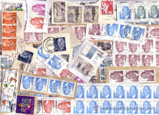 ESPAÑA. LOTE DE 435 SELLOS DE JUAN CARLOS I FACIALES EN €UROS SOBRE FRAGMENTOS DE CARTA. MAGNÍFICO. (Sellos - Colecciones y Lotes de Conjunto)