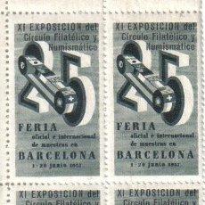 Sellos: VIÑETAS CONMEMORATIVAS XI EXPOSICIÓN FILATÉLICA-NUMISMÁTICA DE BARCELONA (1957). Lote 32552566