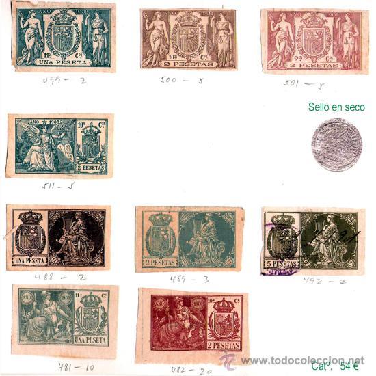 Sellos: Plancha XII.- Lote con 9 piezas. Su precio 25 € - Foto 12 - 32969815