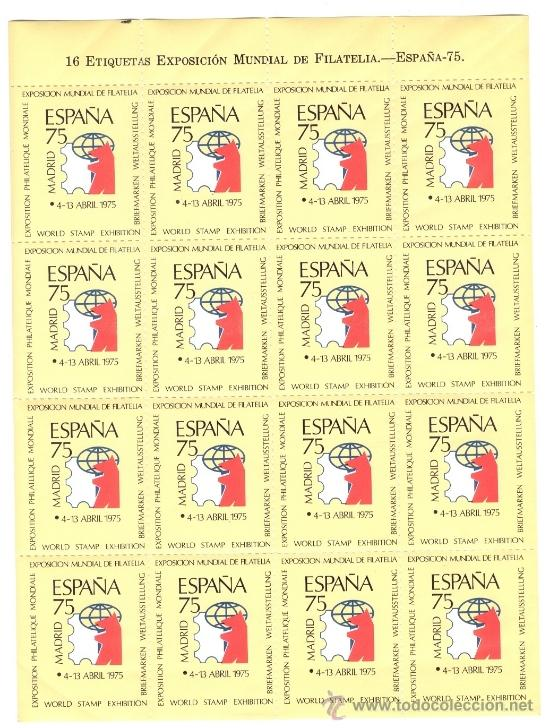 EXPOSICIÓN MUNDIAL DE FILATELIA - MADRID 1975 - HOJA COMPLETA DE VIÑETAS (Sellos - Colecciones y Lotes de Conjunto)