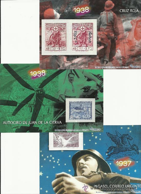 Sellos: ALBUM CON LA COLECCION COMPLETA DE 70 HOJAS BLOQUE CON 175 SELLOS DE LA GUERRA CIVIL - Foto 6 - 53349344