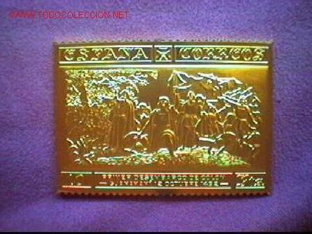 COLECCIÓN ENCUENTRO DE DOS MUNDOS - SELLOS DE PLATA CHAPADOS EN ORO DE 24 K (Sellos - Colecciones y Lotes de Conjunto)