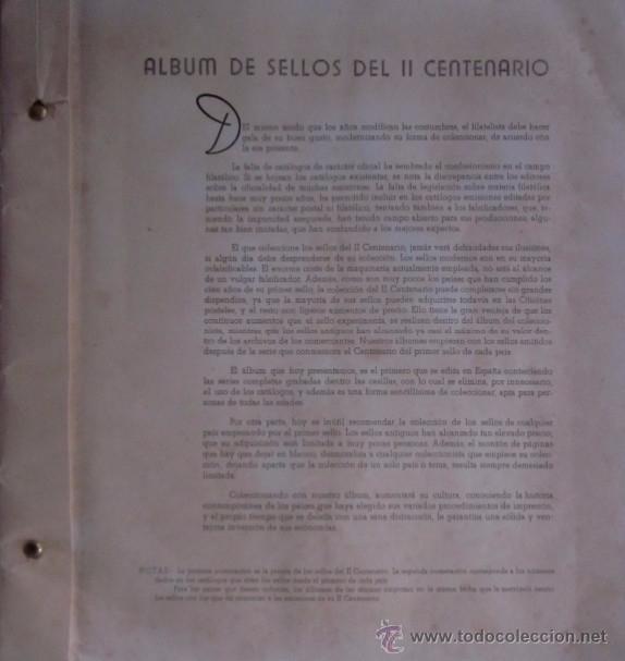 Sellos: ALBUM DE SELLOS DEL II CENTENARIO - Foto 2 - 53865574