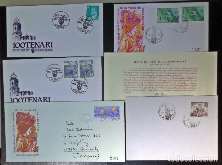 6 DOCUMENTOS FILATELICOS DE TREMP (LLEIDA), SOBRES CONMEMORATIVOS, MATASELLADOS , TARJETA ETC. (Sellos - Colecciones y Lotes de Conjunto)
