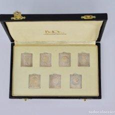 Sellos: SIETE SELLOS DE PLATA DE ESPAÑA- REALES 1850 A 1855. 999/000. Lote 100637319