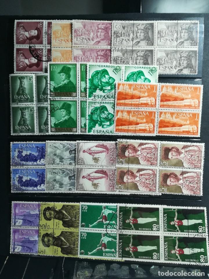 67 BLOQUES DE CUATRO USADOS (268 SELLOS) DE ESPAÑA DE LOS AÑOS 1952 A 1969. VER TODAS LAS FOTOS. (Briefmarken - Sammlungen und Sets)