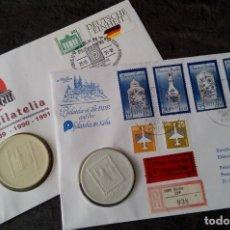 Sellos: LOTE DE 2 MEDALLONES DE PORCELANA DE LA FILATELIA AÑO 89 EN LA ALEMANIA DEMOCRATICA Y 91 EN COLONIA. Lote 116674075