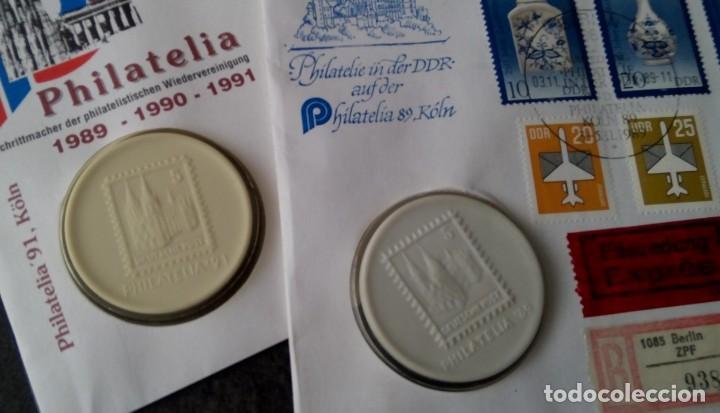 Sellos: LOTE DE 2 MEDALLONES DE PORCELANA DE LA FILATELIA AÑO 89 EN LA ALEMANIA DEMOCRATICA Y 91 EN COLONIA - Foto 2 - 116674075