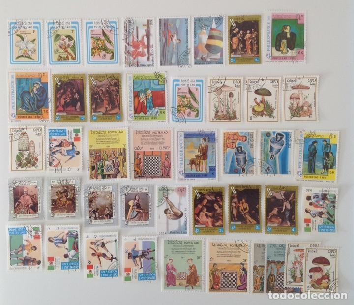 LOTE DE 43 SELLOS CTO LAOS- VARIADO ** (Sellos - Colecciones y Lotes de Conjunto)