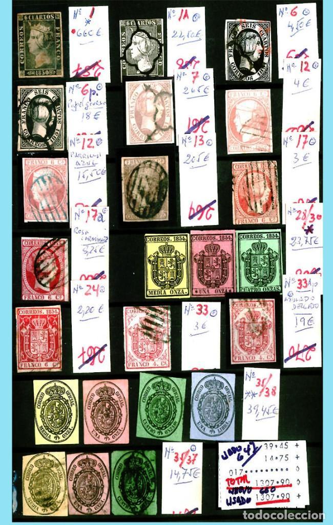 CONJUNTO DE CLASICOS ESPAÑA 1850 A 1905,EN NUEVO Y USADO Y DETALLE DE SUS 14 PÁGINAS. CATº.11.100 € (Sellos - Colecciones y Lotes de Conjunto)