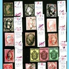 Sellos: CONJUNTO DE CLASICOS ESPAÑA 1850 A 1905,EN NUEVO Y USADO Y DETALLE DE SUS 14 PÁGINAS. CATº.11.100 €. Lote 140738414