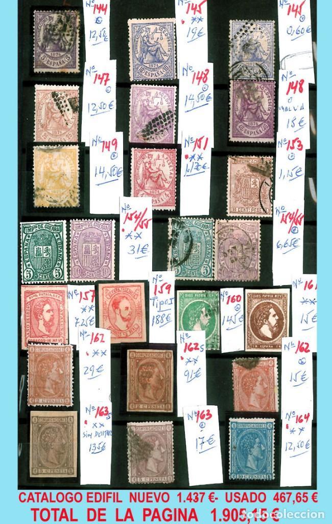 Sellos: CONJUNTO DE CLASICOS ESPAÑA 1850 A 1905,EN NUEVO Y USADO y DETALLE DE SUS 14 PÁGINAS. Catº.11.100 € - Foto 7 - 140738414