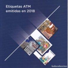 Sellos: CARPETA CON 32 ETIQUETAS ATM EMITIDAS POR CORREOS EN EL AÑO 2018 (NUEVAS) VALOR FACIAL 33,60€. Lote 210965105