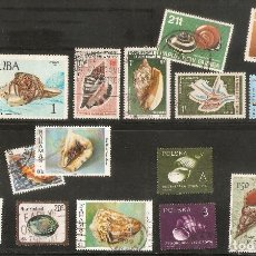 Timbres: 32 SELLOS USADOS DIFERENTES MUNDIALES - FAUNA MARINA - CONCHAS - VER FOTO DE TODOS. Lote 157284930