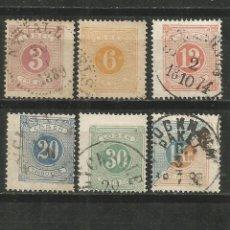 Sellos: SUECIA 1874 IMPUESTOS CONJUNTO DE SELLOS USADOS. Lote 185075972