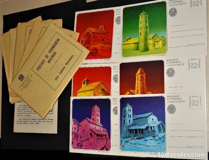 6 SOBRE CON 6 ENTEROS POSTALES DE ANDORRA , SERIES: ESGLÉSIES ROMANIQUES (Sellos - Colecciones y Lotes de Conjunto)
