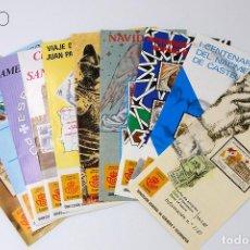 Sellos: LOTE DE DIEZ FOLLETOS CON SUS SELLOS CORRESPONDIENTES. Lote 194563948