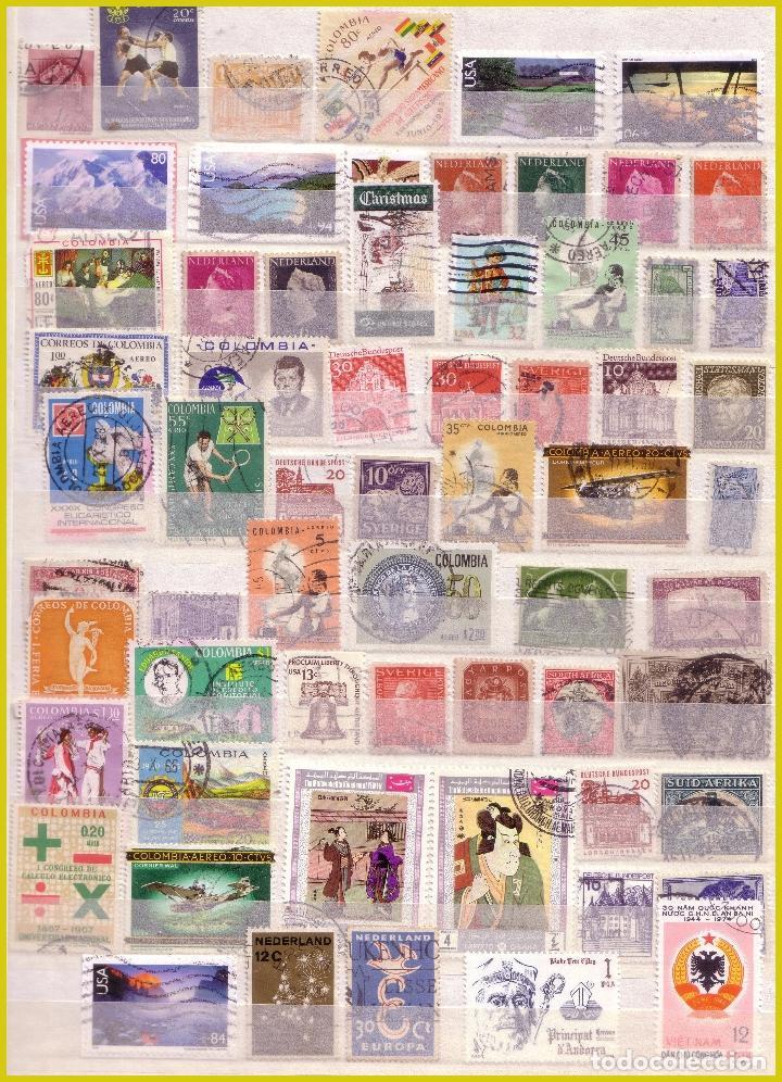 Sellos: Clasificador de 16 páginas con 1072 sellos extranjeros, mundiales (o) - Foto 2 - 211479774
