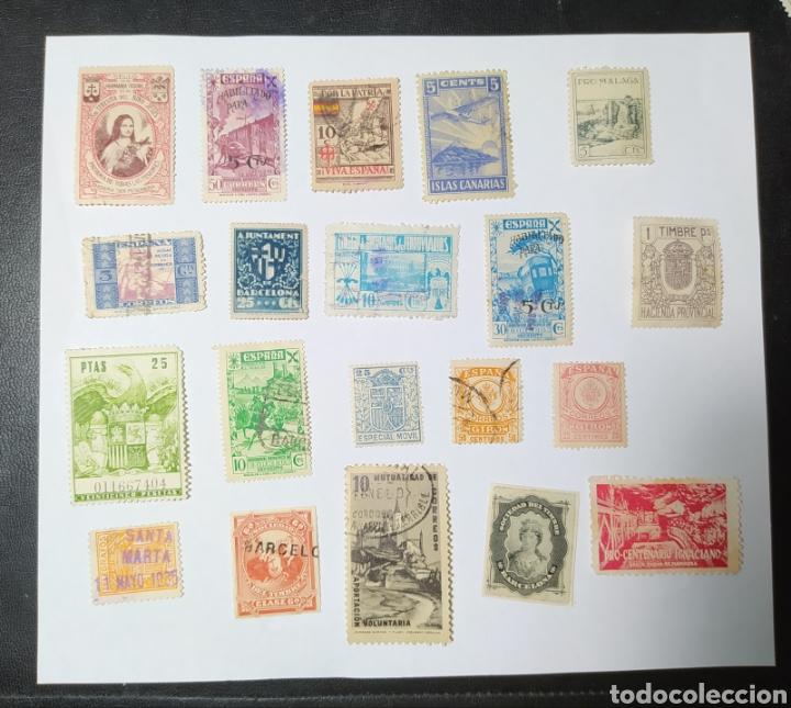 LOTE DE 20 SELLOS, PÓLIZAS, ESPECIAL MÓVIL, HABILITADO, HUÉRFANOS, CANARIAS, ETC.... (Sellos - Colecciones y Lotes de Conjunto)