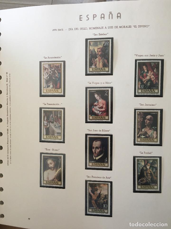 Sellos: Excepcional coleccion sellos España años 1960 a 1990 en Hojas Olegario y 4 Albums Philos - Foto 9 - 219321357