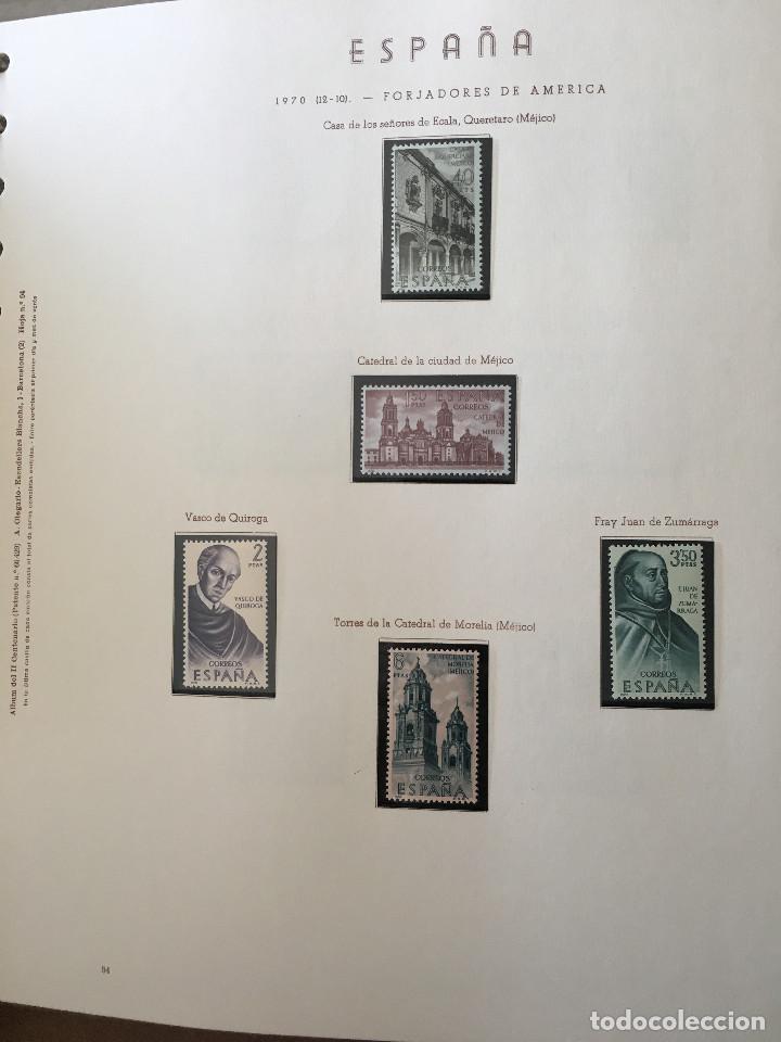 Sellos: Excepcional coleccion sellos España años 1960 a 1990 en Hojas Olegario y 4 Albums Philos - Foto 14 - 219321357