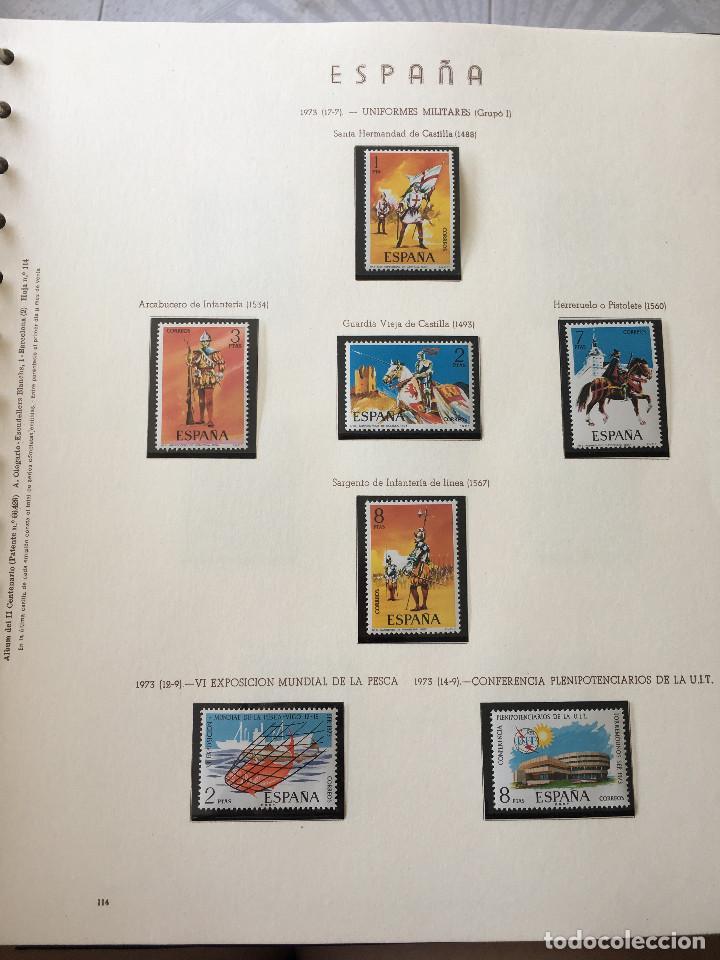 Sellos: Excepcional coleccion sellos España años 1960 a 1990 en Hojas Olegario y 4 Albums Philos - Foto 35 - 219321357