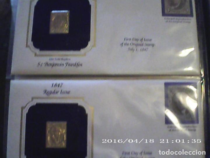 Sellos: ÚNICA EN T.COLECCIÓN 100 SELLOS DE ORO 22 KILATES COLECCIÓN COMPLETA DE 1847 A 1932 USA - Foto 5 - 221504917
