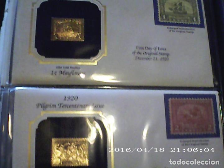 Sellos: ÚNICA EN T.COLECCIÓN 100 SELLOS DE ORO 22 KILATES COLECCIÓN COMPLETA DE 1847 A 1932 USA - Foto 8 - 221504917