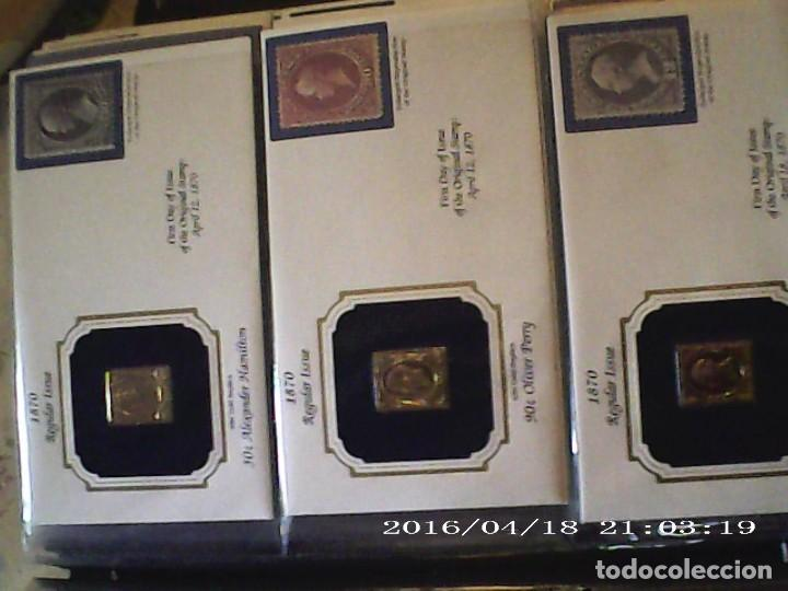 Sellos: ÚNICA EN T.COLECCIÓN 100 SELLOS DE ORO 22 KILATES COLECCIÓN COMPLETA DE 1847 A 1932 USA - Foto 27 - 221504917
