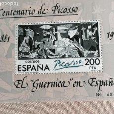 Sellos: HOJA - EL GUERNICA EN ESPAÑA PABLO PICASSO - 1881 1973 HB NUEVO -. Lote 226338485
