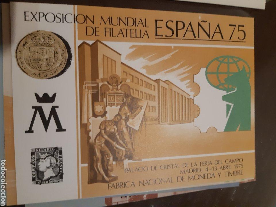 Sellos: 21 HOJAS RECUERDO EXPOSICIONES FILATÉLICAS ESPAÑA 75 ETC....VER FOTOS - Foto 20 - 243686705