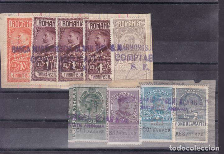 FC235- FISCALES INTERESANTES FRAGMENTOS FRANQUEOS MÚLTIPLES ANTIGUOS PERFORADOS B.B . RUMANIA (Sellos - Colecciones y Lotes de Conjunto)