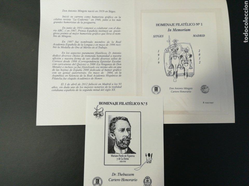 LOTE DE 2 HOMENAJES FILATÉLICOS SOBRECARGADOS (Sellos - Colecciones y Lotes de Conjunto)