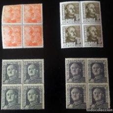 Sellos: LOTE DE 4 BLOQUES DE 4 SELLOS ESPAÑA. GENERAL FRANCO, 1949-53 NUEVOS. Lote 265838809