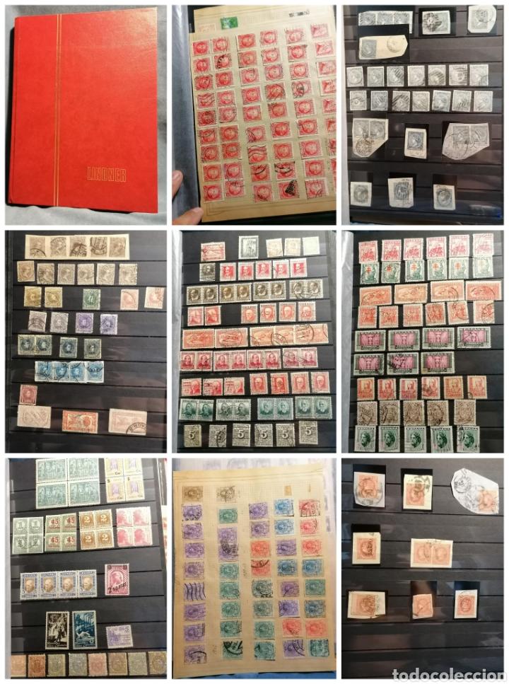 ESPAÑA GRAN LOTE SELLOS ANTIGUOS STOCK PRIMER CENTENARIO LOTE SELLOS RESTO DE COLECCIÓN 37 FOTOS (Sellos - Colecciones y Lotes de Conjunto)