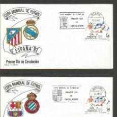 Sellos: ESPAÑA COPA DEL MUNDO DE FUTBOL ESPAÑA´82 COLECCION DE 14 SOBRES MATASELLOS DE TODAS LAS SEDES. Lote 287604358