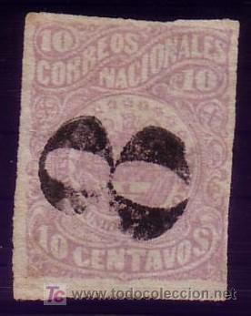 COLOMBIA. (CAT. 52). 10 CTVOS. MATASELLADO CON LA MARCA * 8 * DE PORTEO. MAGNÍFICO Y RARO. (Sellos - Extranjero - América - Colombia)