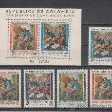 Sellos: COLOMBIA 585/6, A 378/80, HB 20 SIN CHARNELA, PINTURA, SAN ISIDRO LABRADOR PATRON DE LOS CAMPESINOS. Lote 25955923