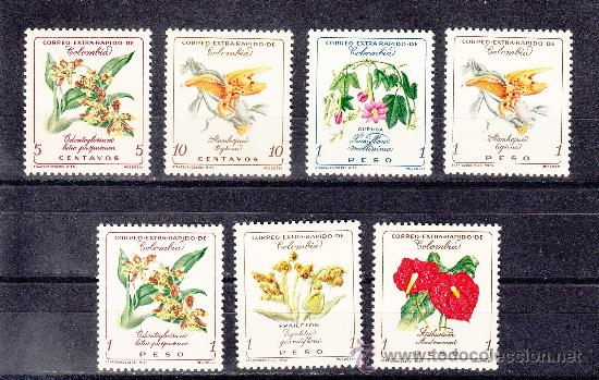 COLOMBIA A 355/61 SIN CHARNELA, FLORES, (Sellos - Extranjero - América - Colombia)
