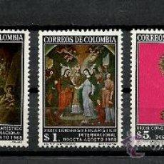 Sellos: COLOMBIA 1968, YVERT Nº 637/641*, 39 CONGRESO EUCARISTICO INTERNACIONAL. FIJASELLOS.. Lote 28384642