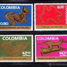 Sellos: COLOMBIA 682/83 Y AEREO 590/91** - AÑO 1975 - ARQUEOLOGIA - OBJETOS DE ORO DE LA CULTURA SINU. Lote 189306053