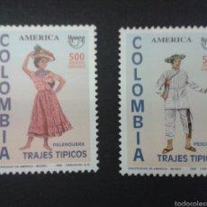 Sellos: SELLOS DE COLOMBIA. AMÉRICA UPAEP. YVERT 1067/8. SERIE COMPLETA NUEVA SIN CHARNELA. TRAJES TÍPICOS. Lote 53093973